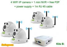 4CH NVR Kits Wireless Cameras for Indoor Home Security System KITS B